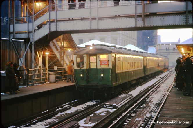 CTA 4000s at Clark and Lake in January 1970.