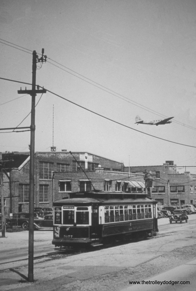 "CSL 5177 at Archer and Cicero in March 1935. M.E.: ""The building behind the streetcar has a sign for United Airlines. So this scene is at Midway Airport, most likely north of 62nd St., which is where the Cicero car line ended in front of the original Midway terminal building. The sign on the streetcar reads Archer-Cicero, which was likely its northern destination."""