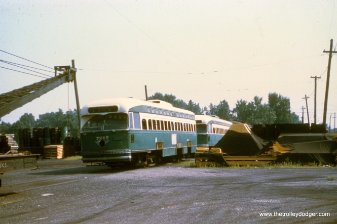 CTA 7217 awaiting scrapping on June 30, 1959, at South Shops.
