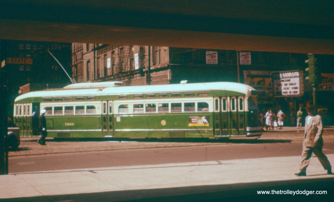 CTA 7263 at Harrison and State in 1954.