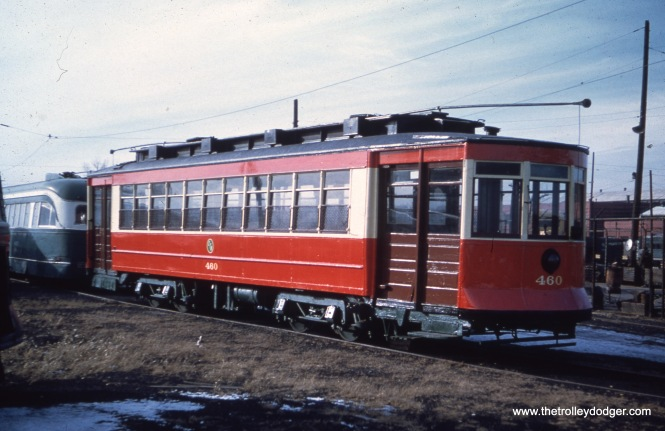 CTA 460 at 77th and Vincennes in March 1956, when it was part of the CTA Historical Collection. Looks like PCC 4021 is behind it. Both cars are now at the Illinois Railway Museum.