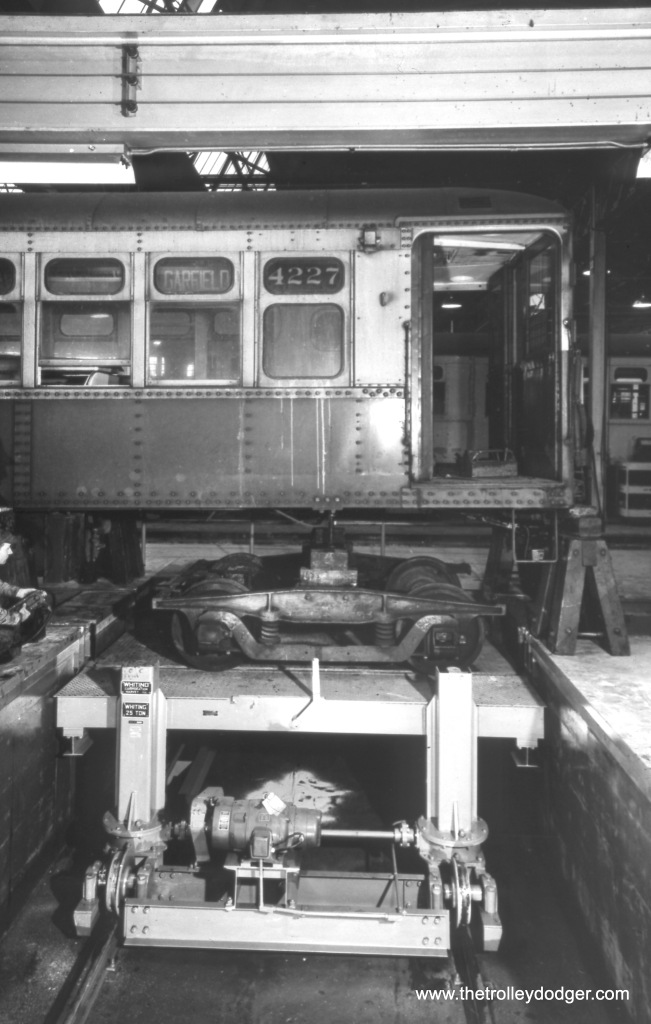 CTA 4227 in the shop (Skokie?) in 1956.