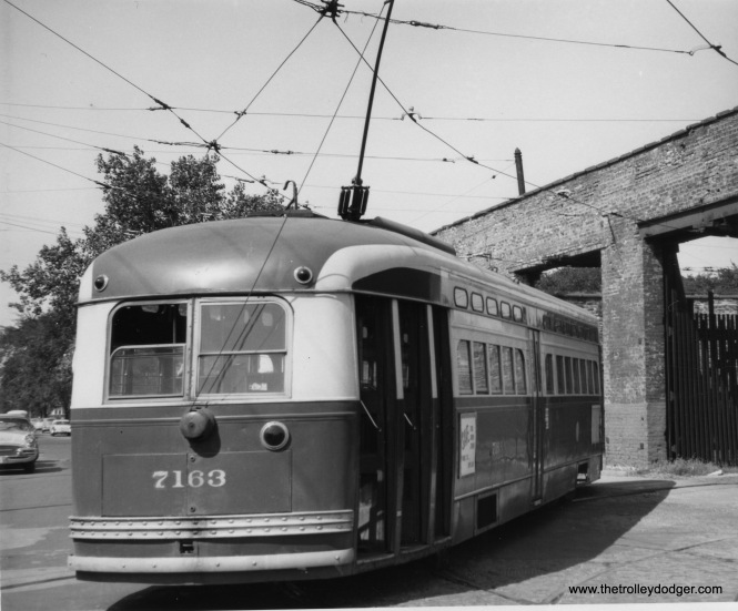 CTA PCC 7363 at Devon Station (car barn), possibly in 1957. Part of the building here was destroyed by fire years earlier.