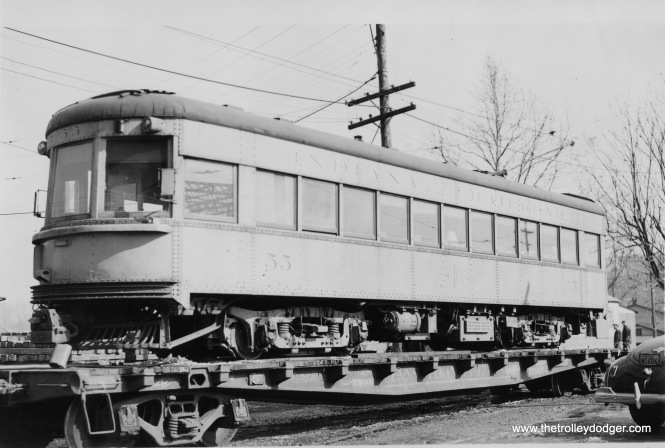 When the Indiana Railroad interurban shut down in 1941, Lehigh Valley Transit bought high-speed car 55. Here, it's on a Pennsylvania Railroad flatcar. LVT turned it into car 1030, showcase of their fleet on the Liberty Bell Route between Allentown and Philadelphia. It is now at the Seashore Trolley Museum. (H. P. Sell Photo)