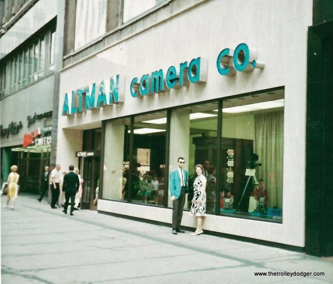 Altman Camera, at 129 N. Wabash, was the Noah's Ark of camera stores from 1964 to 1975. Owner Ralph Altman kept two of everything in stock-- one to show, and one to go. This was literally the finest camera store in the United States. This was close to the location of the old Eastman Kodak Store, which I believe had to close in the mid-1950s due to anti-trust concerns. Here is Altman's in 1967.
