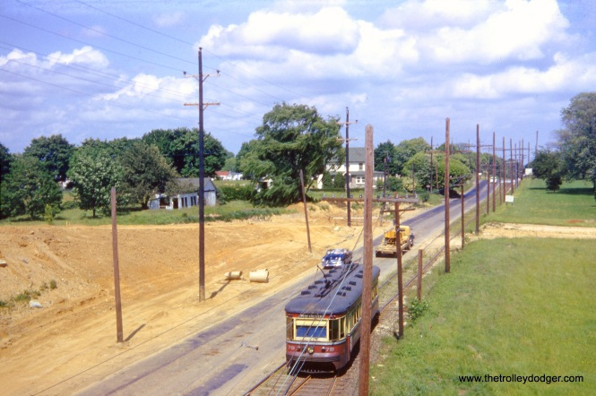 Red Arrow car 78 on the West Chester line on May 29, 1954, about a week before buses replaced trolleys. Much of the line was single track, side-of-the-road, with passing sidings. It fell victim to a road widening project along West Chester Pike. (James P. Shuman Photo)