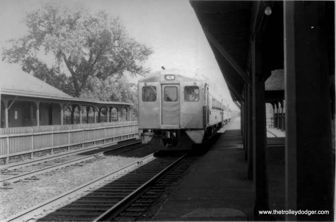 A Chicago & North Western RDC (Budd Rail Diesel Car) commuter train in Evanston on August 5, 1950.