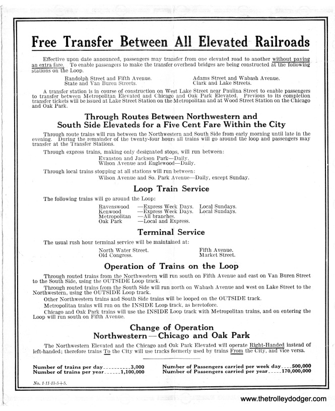 "In 1913, free transfers were instituted between the four ""L"" lines. To combat overcrowding, some north and south side trains were through-routed, meaning they only ran on half the Loop. Other trains continued to circle the Loop. The direction of trains in the Loop was changed to counter-clockwise, and the Northwestern and Lake Street ""L""s changed to right-hand running outside of the Loop."