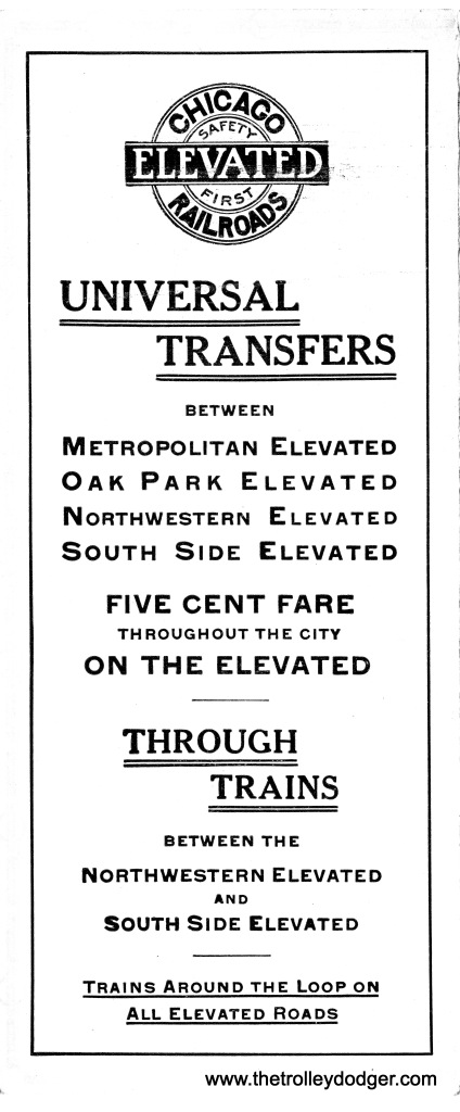 "Chicago ""L"" operations were consolidated under one management by 1913, when this brochure was issued to explain service changes to the public."