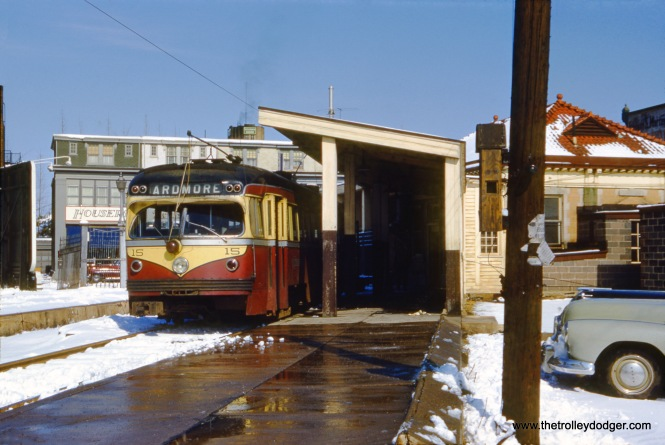 Philadelphia Suburban Transportation Company (aka Red Arrow) car 15 at the end of the Ardmore line in the early 1950s. Buses replaced trolleys in 1966.
