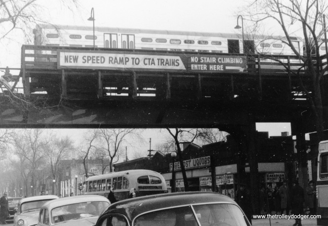 "The CTA installed an escalator (called a ""speed ramp"") at the Loomis Terminal on the Englewood branch. This photo was taken on February 19, 1957. This branch was extended two blocks west to Ashland in 1969, providing a more convenient transfer to buses. M.E. adds, ""The L platform at Loomis Blvd. did not originally extend over the street. It was added to accommodate longer trains. The bus heading north on Loomis was probably serving route 110 Marquette Blvd., which ended at the L station. Until the early 1950s, bus service along Marquette and Loomis Blvds. was part of the Chicago Motor Coach system, and had double-decker buses that might not have fit under the L track (if it had been there)."" Alan Follett adds, ""As I recall, the ""speed ramp"" at Loomis wasn't an escalator. It was a sort of gently-inclined conveyor belt."""