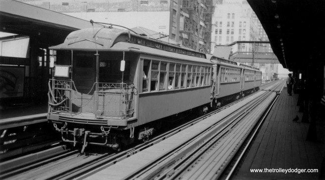 """L"" car 1016 is part of an Evanston train at Madison and Wells."