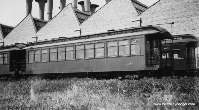 "CRT 1013 at Skokie Shops. Don's Rail Photos: ""1013 was built by Pullman in 1899 as NWERy 13. It was renumbered 1013 in 1913 and became CRT 1013 in 1923. It was retired on December 20, 1954."""