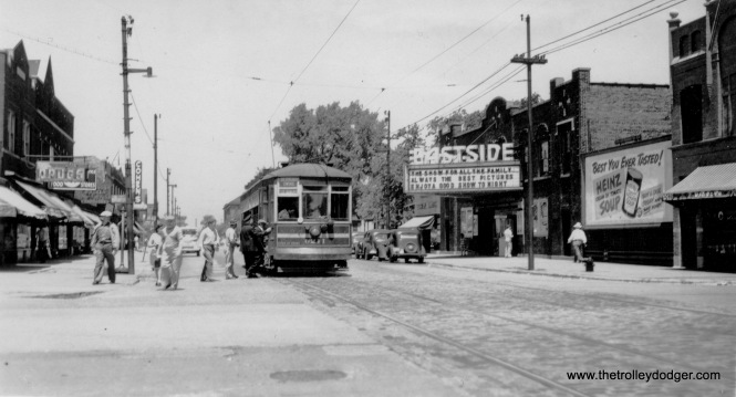 CSL 6211 near the Eastside Theater, located at 10555 S. Ewing Avenue. It opened in 1922 and closed in 1951.