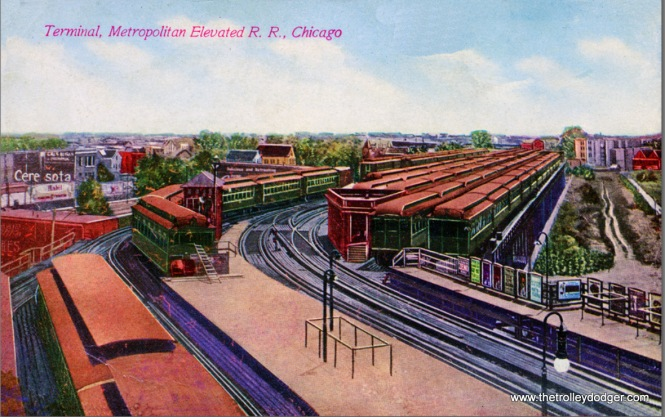"An early 1900s postcard view of the Met ""L"" Logan Square Terminal."