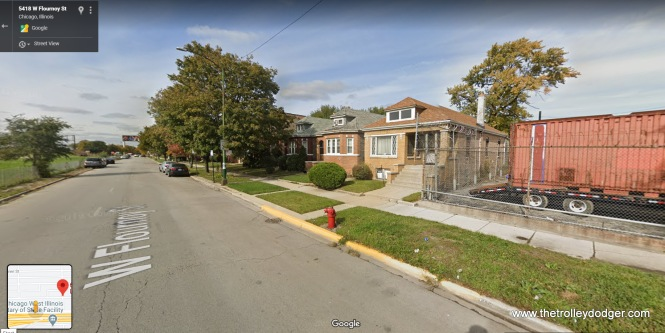 The fence to the right of this Chicago style brick bungalow shows just where Lockwood Yard ended. The yard was just north of the CA&E main line, which curved south just east of here and ran parallel to the B&OCT from here to Forest Park.