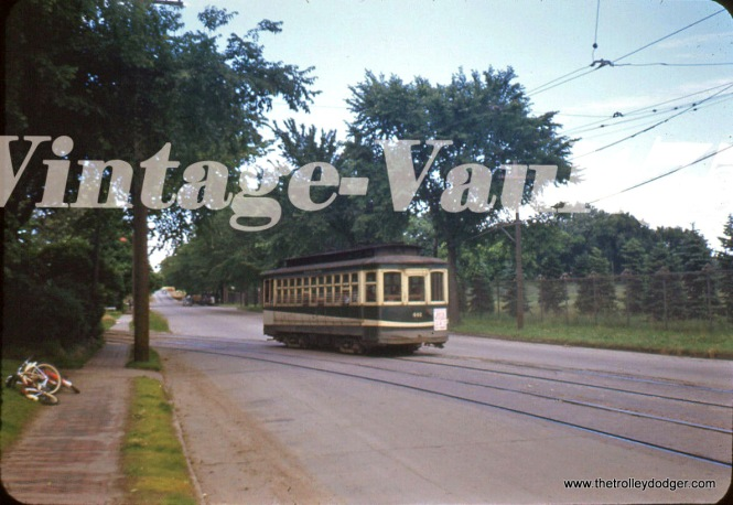 A Des Moines, Iowa streetcar in the 1940s.
