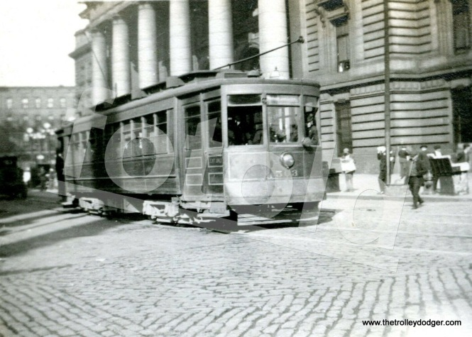 Chicago Surface Lines 563 on Madison Street in 1928, in front of the old Northwestern Station.