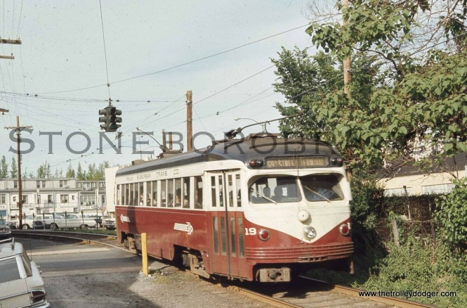 Red Arrow car 19 has just departed the end of the line of the Ardmore line on June 11, 1966, about six months before buses replaced rail here.