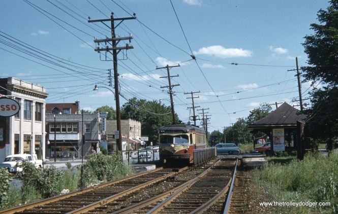 Red Arrow car 24 is at Darby and Brookline Roads in Havertown, PA on May 29, 1958, on the Ardmore line.