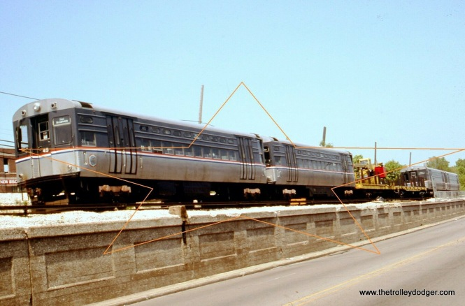 CTA 45 and 46 are part of a work train in Evanston on May 30, 1994.