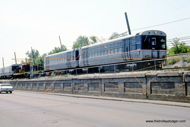 CTA 22 and 32 are part of a work train in Evanston on May 30, 1994.