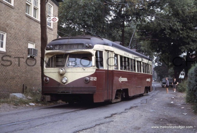 Red Arrow car 22 is at Sheldon and Spring Avenue in September 1965 on the Ardmore line. At the end of 1966, it was converted to buses.