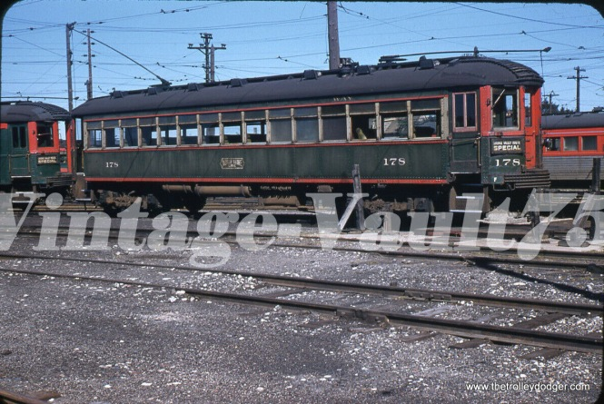 "North Shore Line 178 at Harrison Street in Milwaukee in 1955. Don's Rail Photos: ""178 was built by Cincinnati Car in September 1920, #2455."""