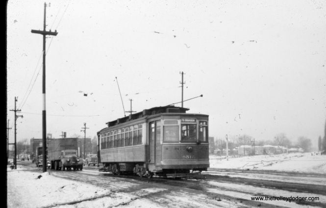 "CTA 5512 at 79th and Wentworth in January 1948. Correction- Robert Lalich writes, ""Photo rbk612 shows car 5512 crossing the B&O Brookdale Branch at 79th and Oglesby."""
