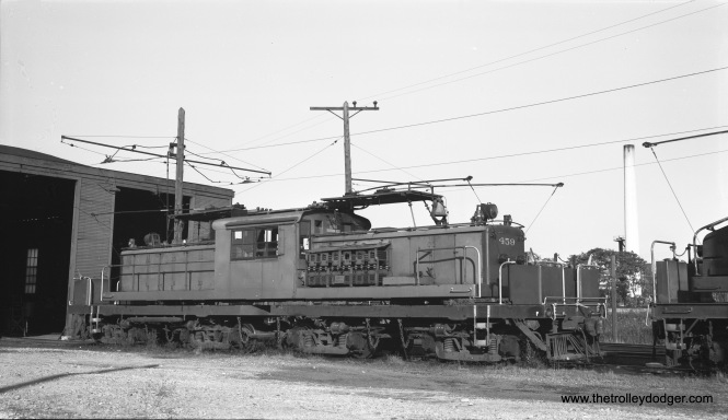 "North Shore Line four-truck loco 459 at Pettibone Yards in North Chicago, IL on October 23, 1954. (Robert Selle Photo) Sderailway notes, ""North Shore Line freight motor 459, one of two large four truck motors purchased from Oregon Electric, 459 was built in 1941 and sold to the North Shore Line in 1946. The large motors supplemented NSL's smaller, slower, lower horse powered fleet of steeple cabs. With 459 being only 5 years old when purchased from OE it seems with only 17 years more years in NSL service, it still had a lot of ""life"" left in it."""