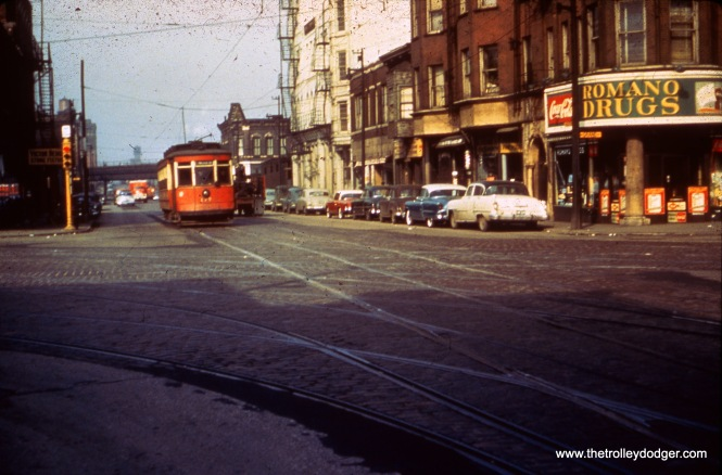 CTA 177 on Halsted on February 22, 1954, running northbound at the intersection of Halsted, Grand, and Milwaukee.