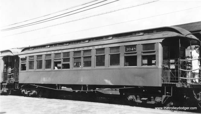 "Chicago Rapid Transit 3048 at Marion Street in Oak Park, part of a Lake Street ""L"" train in the 1940s. Don's Rail Photos: ""3001 thru 3100 were built by Gilbert in 1893 as Lake Street Elevated RR 1 thru 100. In 1913 they were renumbered 3001 thru 3100 and became Chicago Rapid Transit 3001 thru 3100 in 1923."""