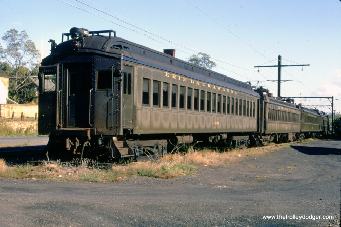 Erie Lackawanna 3357 on the Gladstone branch in New Jersey on October 4, 1970. These cars somewhat resembled the Illinois Central Electric commuter trains built in 1936. The 3357 was built by Pullman in 1920 as a trailer and was retired in 1984. The inly information I could find is that it may be stored inoperable at Steamtown in Scranton, PA. The Gladstone Branch, currently operated by NJ Transit, had many of the attributes of an old-fashioned interurban, and our good friend Kenneth Gear has written about it on this site. (James C. Herold Photo)
