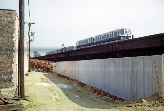 CTA 2000 series Logan Square Station showing construction for the Kimball subway extension in 1969.