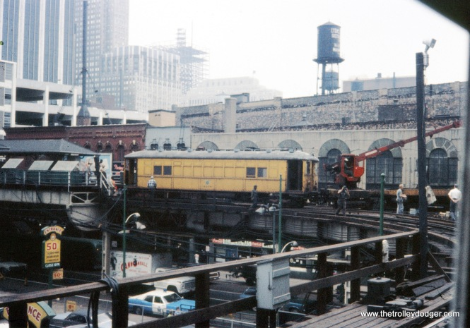 CTA 4000 series work equipment Lake-Wells 6-1969 (this is probably when the original Tower 18 was being replaced, and new track added, in conjunction with the opening of the Lake-Dan Ryan service a few months later).
