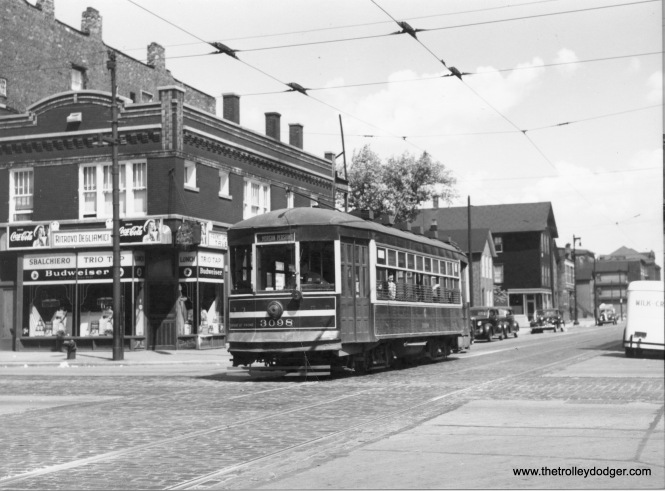 "CSL 3098 Throop-26th SB 8-25-1946 (Mike Charnota Collection) Correction: Robert Tuggle writes, ""the streetcar is actually heading south on Racine at Grand Avenue."""