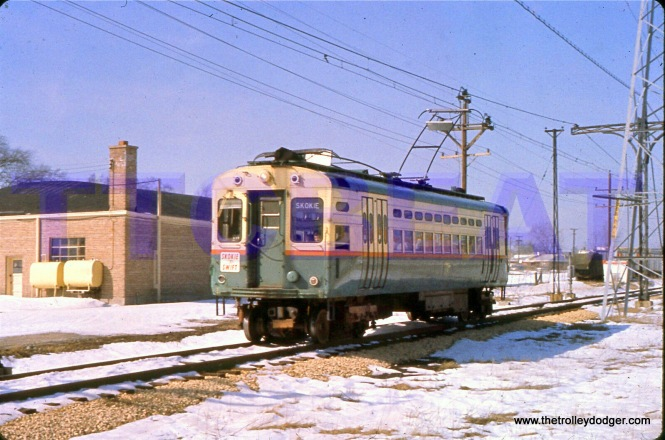 CTA single-car unit 26 is southbound at Niles Center Road on March 6, 1965.