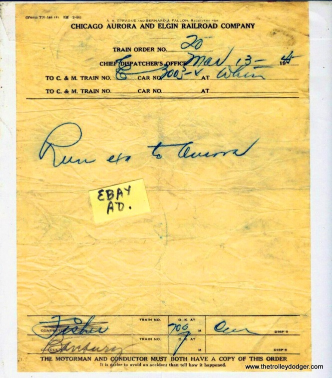A CA&E train order from March 13, 1945. Freight locomotive 3003 was directed to run express to Aurora.