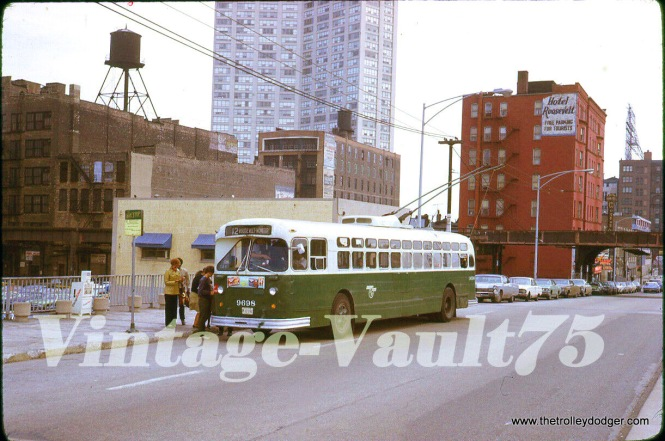 "CTA trolley bus 9698 is westbound on Roosevelt Road in 1972, just west of the South Side ""L""."