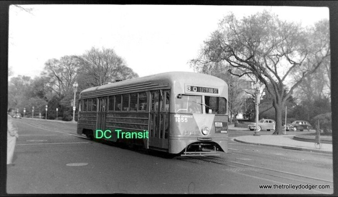Capital Transit (aka DC Transit) 1055 in the 1940s. This was a pre-PCC car built in 1935, and represented an important step in the development of PCCs, introduced the following year. Car 1053 was the last survivor of this car type, but was unfortunately later destroyed in a museum fire.