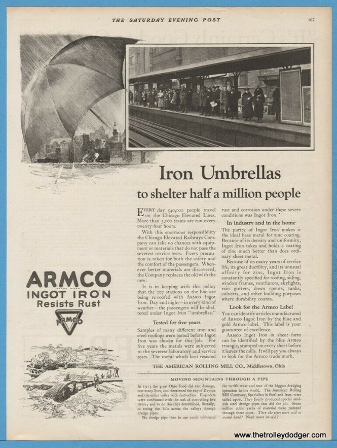 "According to this 1924 ad, the platform canopies on all 207 Chicago ""L"" stations were being re-roofed with Armco Ingot Iron."