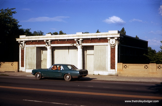 "The former Ridge station on what had been the Niles Center ""L"" branch, as it appeared in July 1970. The station entrances to both Ridge and Asbury looked nearly identical, but as J. J. Sedelmaier points out, Asbury was being used as a convenience store during this time. This is along the current path (in Evanston) of the CTA Yellow Line, which began life as part of the North Shore Line's Skokie Valley Route in the mid-1920s. Both stations have long since been removed, except for a few traces at track level."