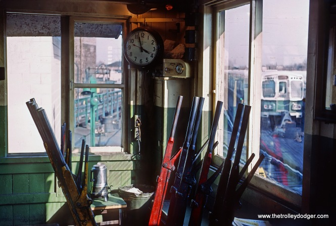 "CTA interlocking tower at Logan Square Terminal, Chicago, IL on April 9, 1966 Roger Puta photograph Roger wrote, ""The last mechanical interlocking on the CTA and will be replaced with a new tower."""
