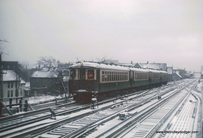 Chicago Transit Authority Evanston Express with 4000 series cars at Clark Junction near the Belmont Station, Chicago, IL on February 2, 1968.