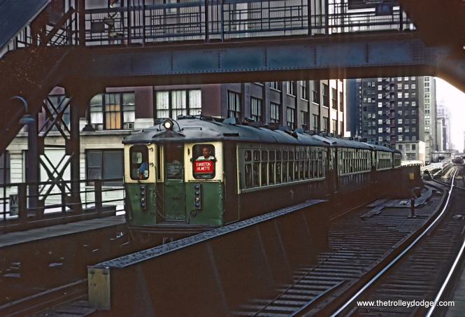 CTA Evanston Express train approaching the Merchandise Mart station, Chicago, IL on June 13, 1968