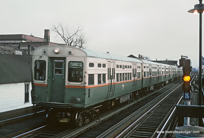 "CTA A train Englewood - Howard L approaching Belmont Ave. station on Saturday evening rush hour, Chicago, IL on April 9, 1966. Sean Hunnicutt: ""6286."""