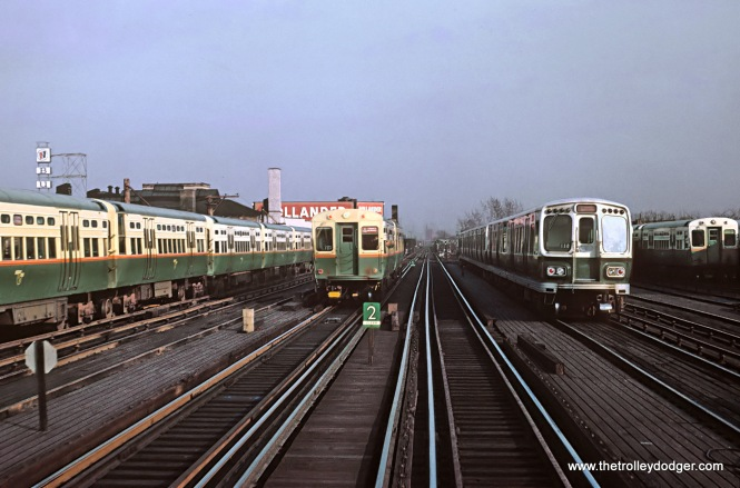 "CTA Logan Square Terminal and Yards Before the Kennedy Extension, 5 Photos The Logan Square station served the CTA as the terminal of the Milwaukee (Ave.) ""L"" until February 1, 1970 when the Kennedy Extension to Jefferson Park (and later to O'Hare) opened. But on May 30, 1966, a new all-electric interlocking was placed in service at Logan Square tower. Roger Puta and Rick Burn had just visited Logan Square the month before and took these photos. These are Roger Puta's photos except for Photo 2. 3. A Congress-Milwaukee A Train going through Logan Square Yard taken from Douglas-Milwaukee B train."