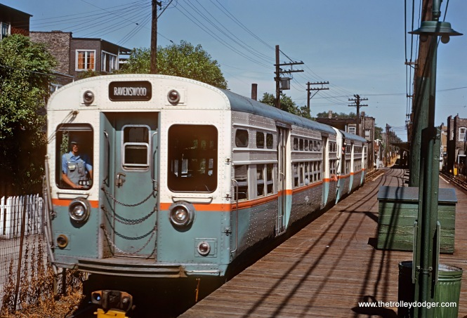 CTA 6000s, Ravenswood Train, July 1965 These were early 6000 series cars with double headlights and a top center rollsign. The 6000s were rebuilt PCC streetcars. Roger's photo show them holding down a Ravenswood run in July, 1965. For more on these cars see: www.chicago-l.org/trains/roster/6000.html