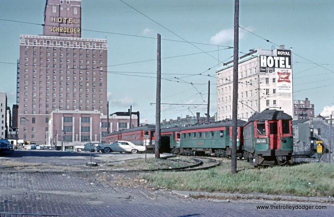 "North Shore Facilities in Milwaukee -- 4 Photos These are scans of Roger Puta's slides taken October 12, 1962 in Milwaukee, WI. Lower yard east of the Terminal on W. Clybourn St. down toward the Milwaukee Road Passenger Station. (I once knew what that second car in was. Please remind me.) Sean Hunnicutt: ""The first car is 170."""