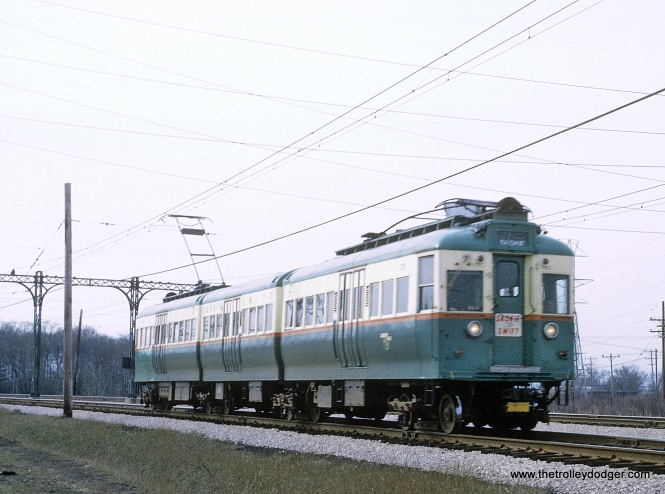 "Chicago Transit Authority ""jitterbug"" Skokie Swift car northbound on curve south of Oakton St., Skokie, IL on April 12, 1966"